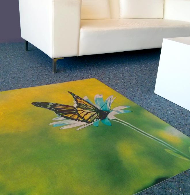 Custom printed floor vinyl.