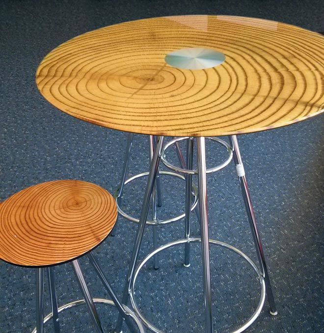 Custom Printed Glass Tabletop and Stool printed with wood grain.
