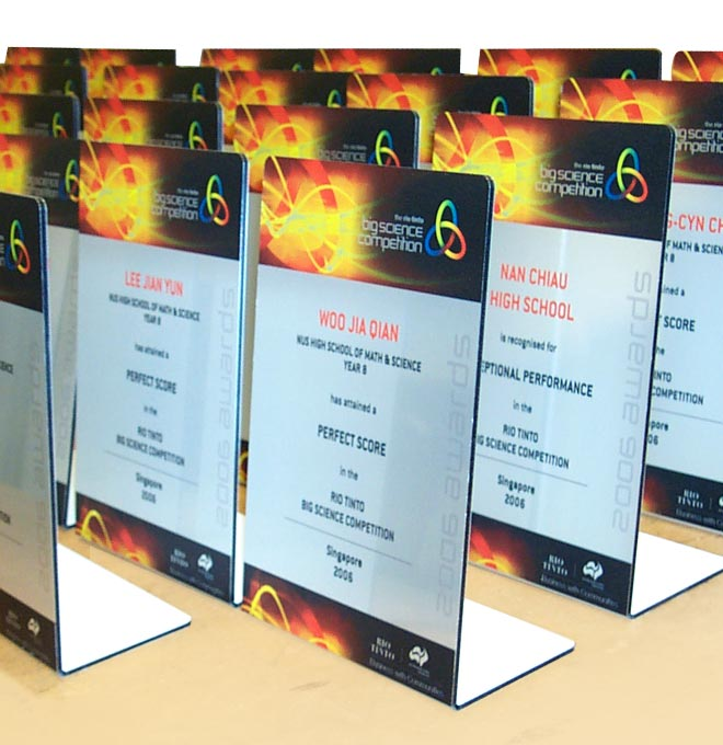 Custom made display awards manufactured from dibond aluminium.