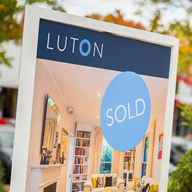 Printed corflute sign for Luton Real Estate