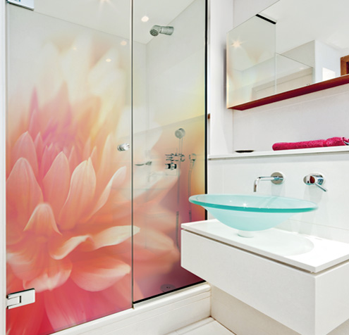Glass printing, a shower screen printed with a large flower image.