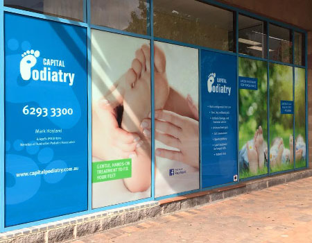 Self Adhesive Vinyl window display for Capital Podiatry