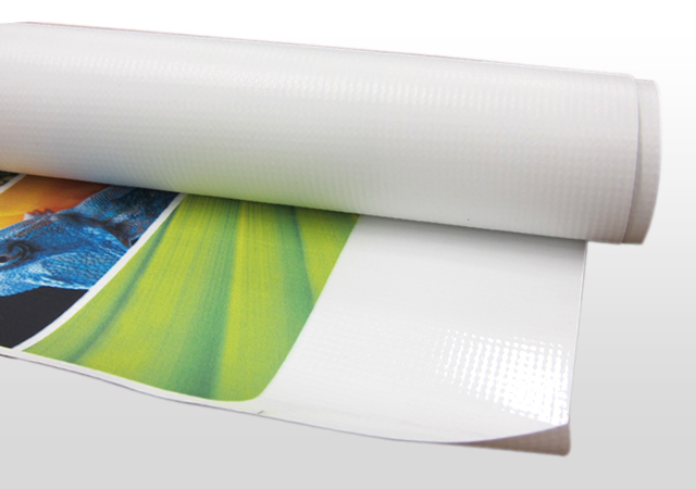 Printed vinyl banner on a roll.