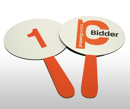 Custom made Auction paddles from Wild Digital.