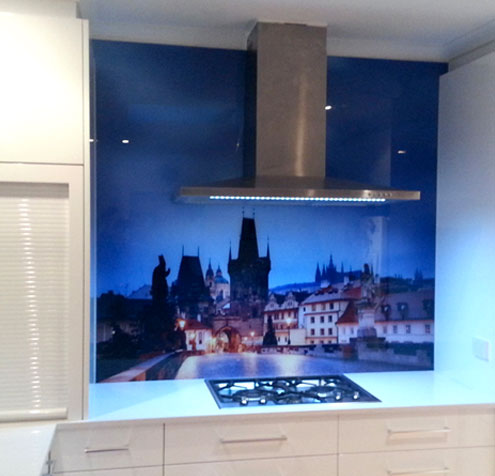 Glass printing - custom printed glass kitchen splashback with a beautiful photograph of Prague.