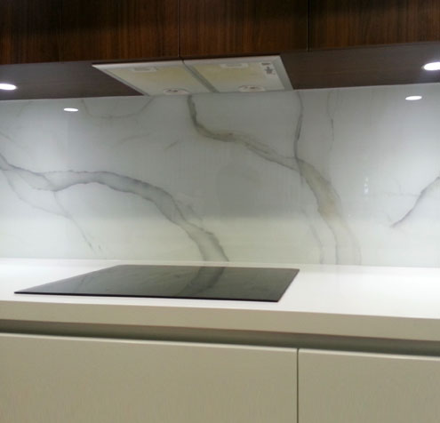 Glass printing -custom printed glass kitchen splashback printed to look like marble.