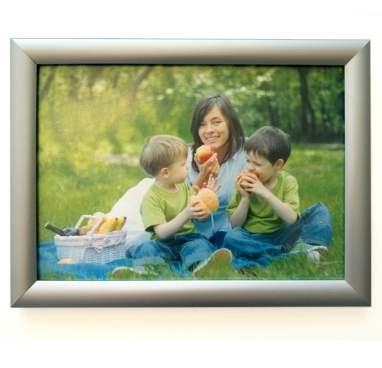 Snapframe poster mounting display from Wild Digital containing a photo of a family enjoying a picnic.